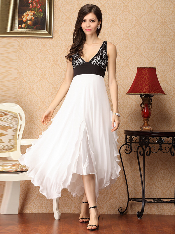 Deep V Neck Lace Scoop Neck Silk Womens Maxi Party Dress