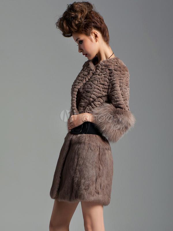 ... Casaco de pele coelho de qualidade Tan Strapless mangas metade mulher  -No.2 ... efb3f5823ee