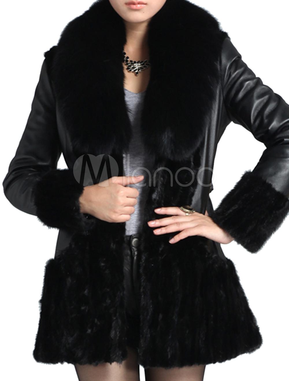 low priced ac71b 7bcf6 Cappotto di pelle con collo in pelliccia nero elegante