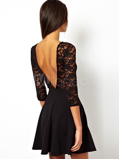 795e65a4ba9e ... Vestito plissettato nero con scollatura sulla schiena sexy di pizzo  monocolore-No.2