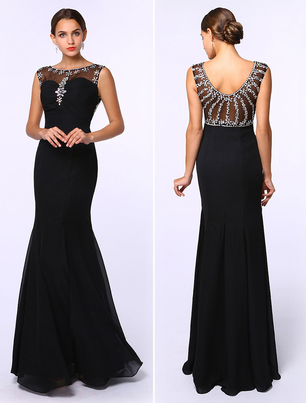 150784a98cadc Black Prom Dresses 2019 Long Mermaid Evening Dress Rhinestones Beading  Chiffon Floor Length Formal Dress Wedding Guest Dress