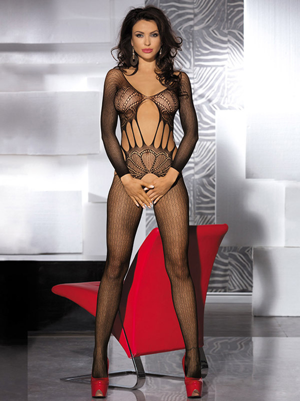 Cut Out Polyester Black Woman's Bodystockings