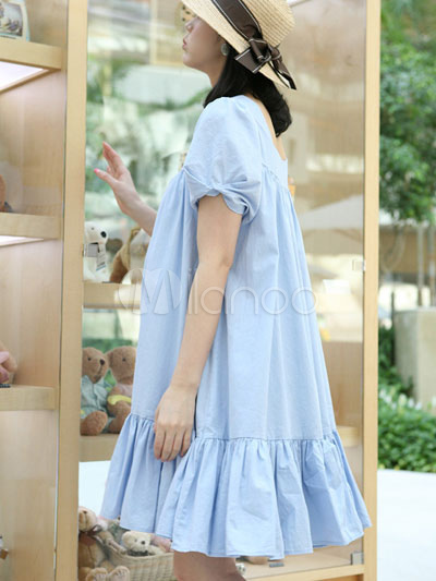 Beautiful Light Blue Knitting Cotton Summer Maternity