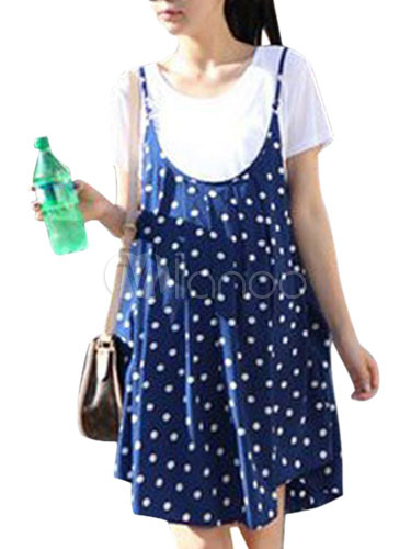 Blue 2-Piece Polka Dot Cotton Maternity Dress