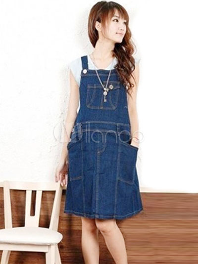 dd1959176 Classy Deep Blue Jean Maternity Dress - Milanoo.com