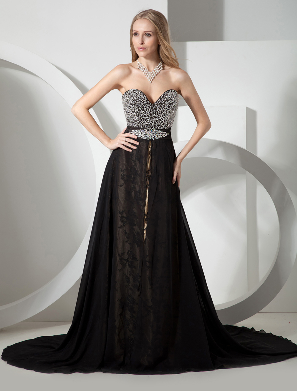 72672c2c78ab2 ... Black Wedding Dress Fully Beaded Sweetheart Bodice Exquisite Lace  Chiffon Overlay-No.8. 12. 30%OFF. Color:Black