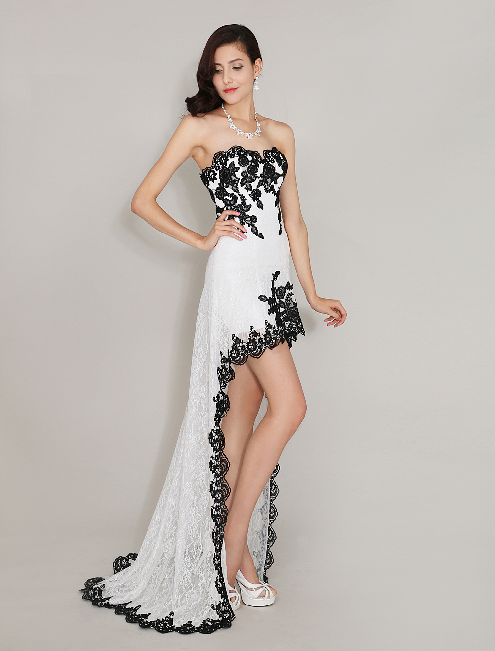 Sweetheart Neck Fantastic Applique Irregular Lace Prom Dress Milanoo