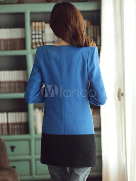... Cappotto bicolore moderno in lana mista con girocollo e maniche  lunghe-No.3 ... c41e91efd4e