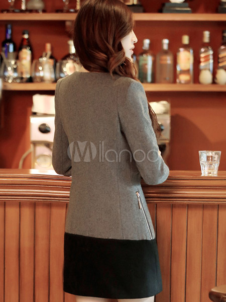 ... Cappotto bicolore moderno in lana mista con girocollo e maniche  lunghe-No.5 ... 00e39d6cab2