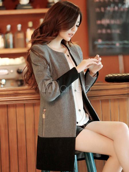 ... Cappotto bicolore moderno in lana mista con girocollo e maniche  lunghe-No.4 ... 67bed7c3609