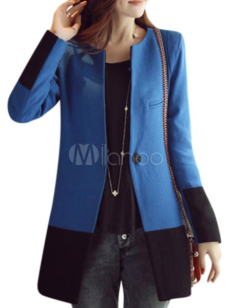 Cappotto bicolore moderno in lana mista con girocollo e maniche lunghe-No.1  ... 0f9a0f08f44