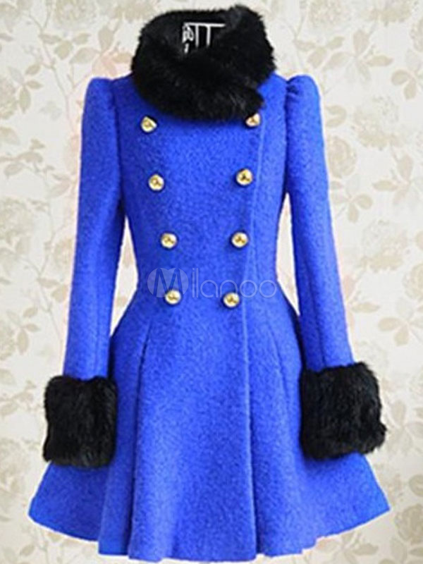 Beautiful Royal Blue Long Sleeves Two-Tone Wool Blend Pleated Pea ...