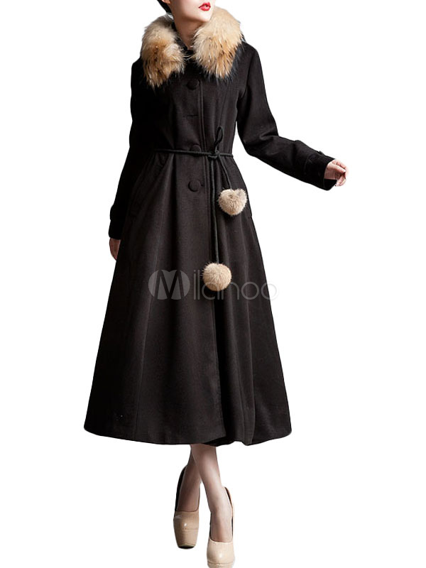 Black Front Button Wool Woman's Maxi Coat