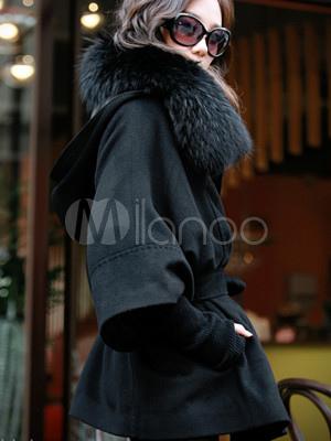 Femme fourrure à capuche Manteau Ample Long épaissir Down chauve-souris Manche Parka Pardessus V1