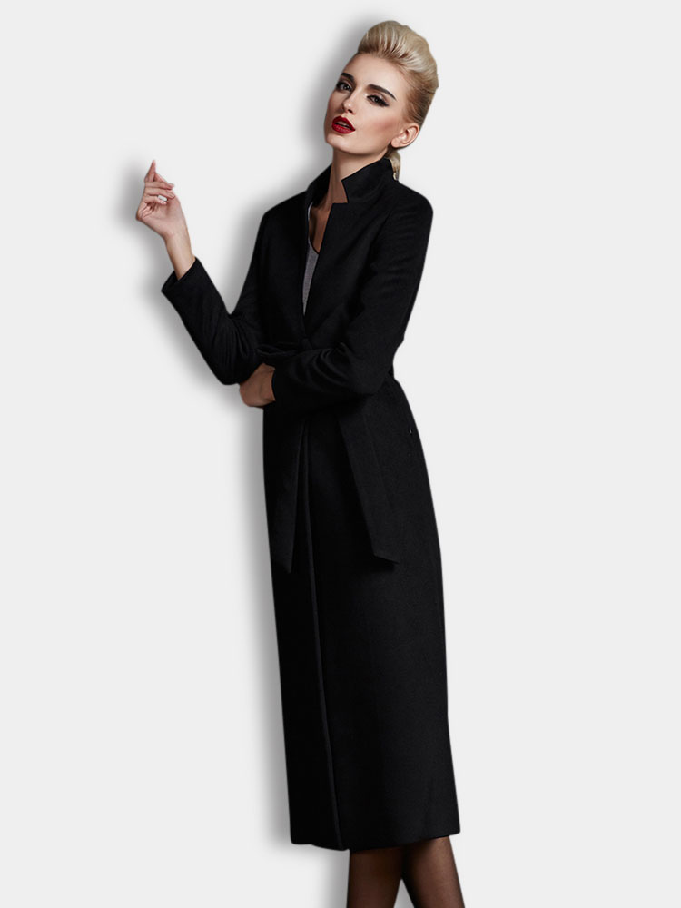Black Stand Collar Sash Long Sleeves Wool Blend Wrap Coat for ...