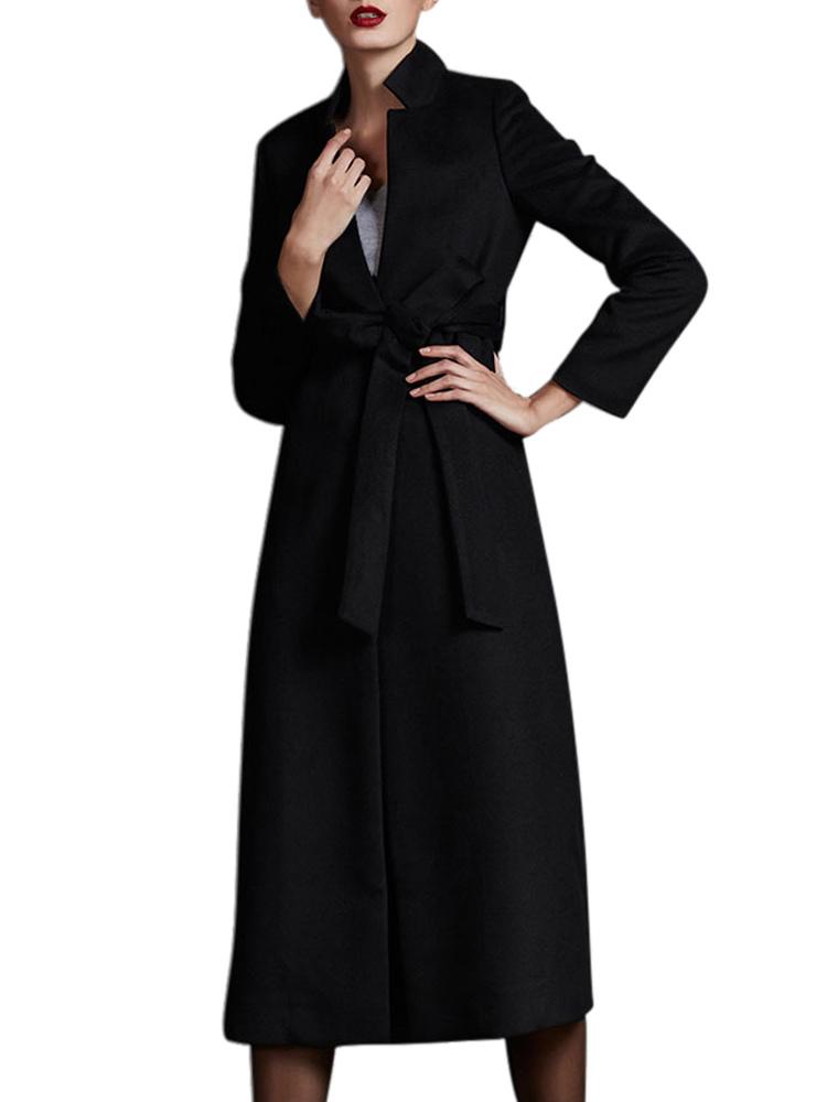 Black Stand Collar Sash Long Sleeves Wool Blend Wrap Coat for Women