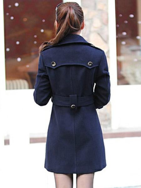... Cappotto blu marino con doppiopetto moderno monocolore in lana mista  -No.4 edfab42363e
