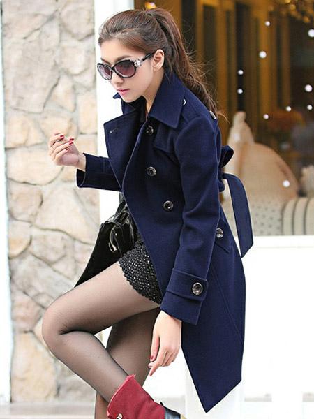... Cappotto blu marino con doppiopetto moderno monocolore in lana mista  -No.3 ... 00479a0be45