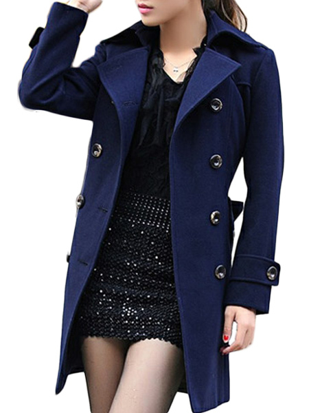 Women Trench Coat Navy Peacoat Long Sleeve Belt Women Winter Jacket Cheap clothes, free shipping worldwide