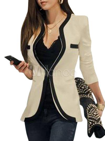 Women White Blazer Casual Jacket Cotton Sprint Coat Cheap clothes, free shipping worldwide