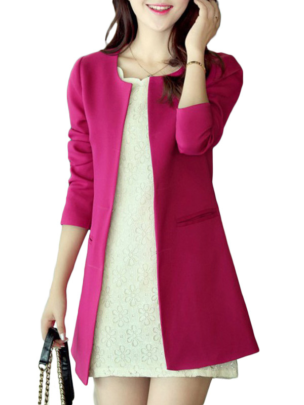 Red Blazer Women Casual Jacket Trench Coat Cheap clothes, free shipping worldwide