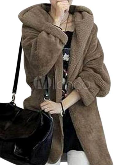 b76483a5047 Abrigo de piel sintética de color liso - Milanoo.com