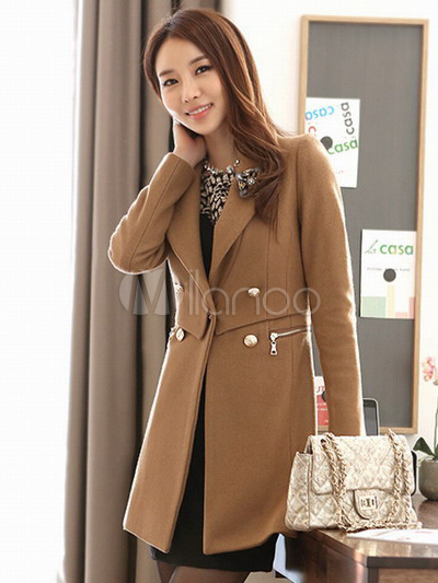 Graceful Light Tan Wool Blend Double Breasted Women's Coat ...
