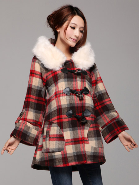 Long Sleeve Wool Blend Duffle Coat with Plaid Pattern - Milanoo.com