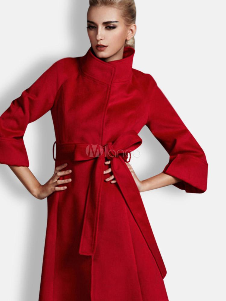 red high collar sash 34 length sleeves wool blend