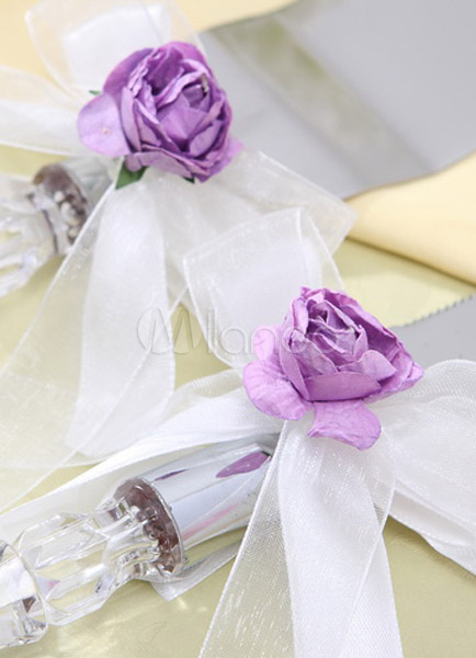 Personalized Lilac Rose Garden Cake Knife and Server Set