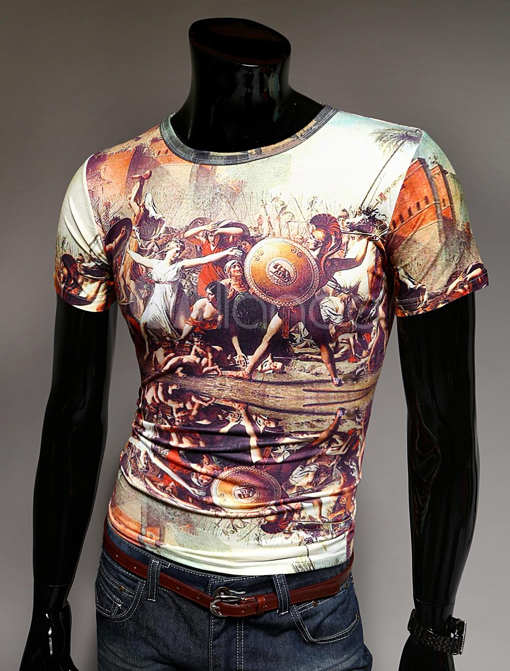 Shirt Multicolore Manches Homme Dessin De Tee Baroque 3d Imprimé sxQrthCd