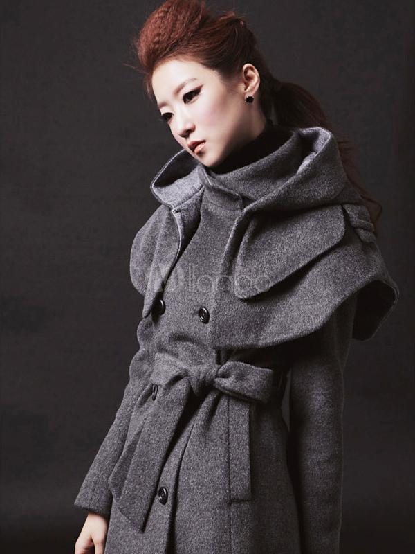 Cappotto grigio scuro moderno in cotone misto con cintura - Milanoo.com 3e3784619cd