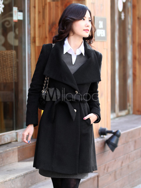 Black Cashmere Women's Long Coat - Milanoo.com
