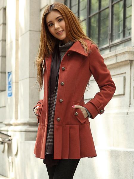 Cappotto aderente moderno in lana a pieghe - Milanoo.com b3f6d5a2045