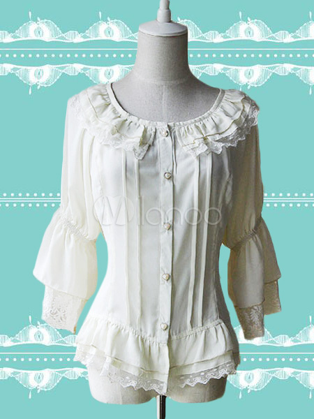 Buy White Chiffon Lolita Blouse Hime Sleeves Lace Trim Ruffles Round Collar for $37.79 in Milanoo store