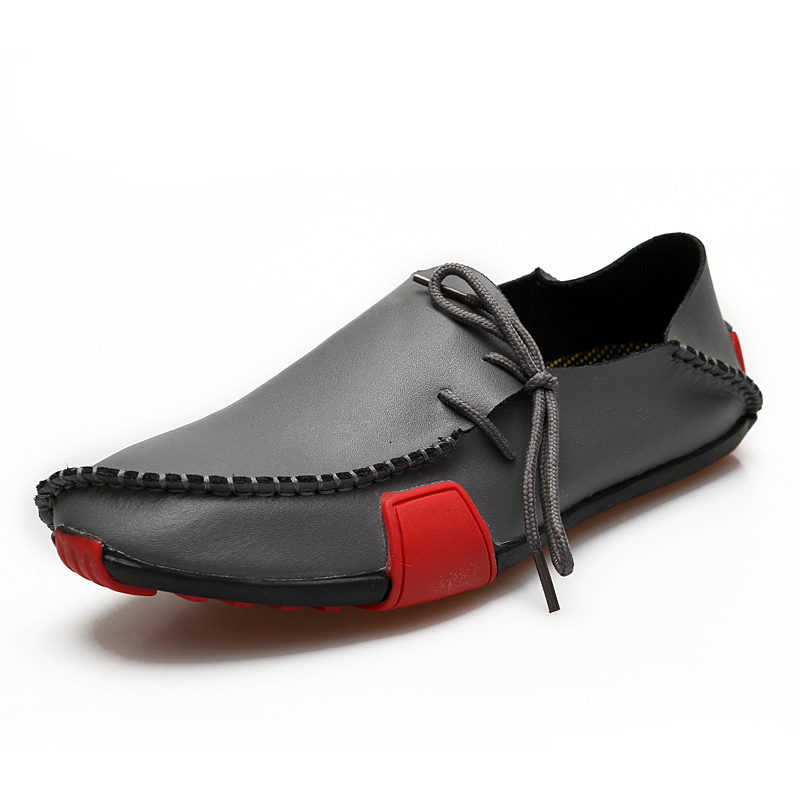 17f5fe1132 ... Men Cowhide Loafers Black Round Toe Lace Up Casual Shoes Driving Shoes-No.3  ...