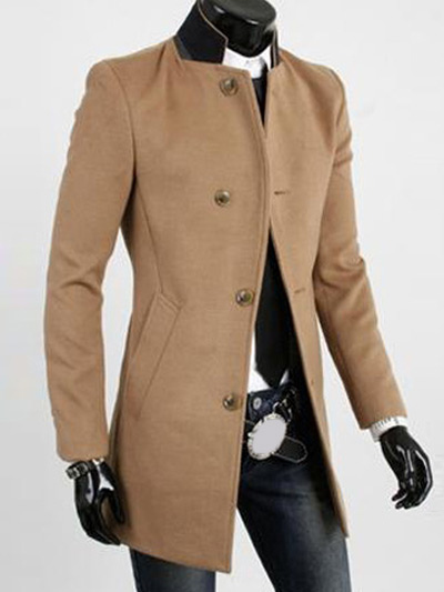 Gabardine Long Outercoats With Stand Collar Milanoo Com