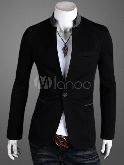 Casual Two-Tone Men's Blazer With Stand Collar