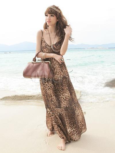 nuovo autentico abile design personalizzate Vestito lungo marrone leopardato senza schienale con bretelle smanicato  stampato in chiffon da spiaggia
