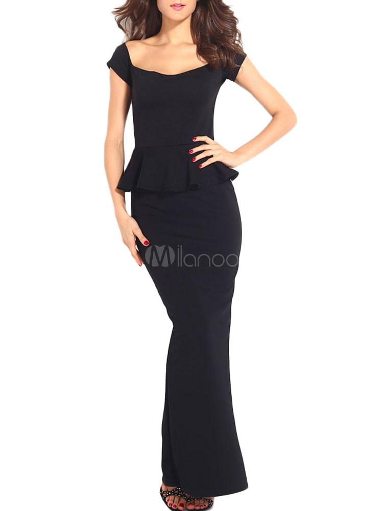 b6f1ec6eff7c Peplum Maxi Dress With Drop shoulder - Milanoo.com