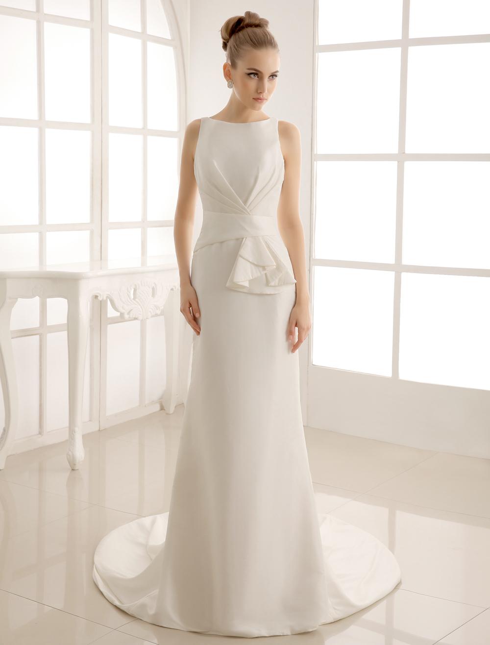 Court Train Wedding Dress With Bateau Neck Milanoo