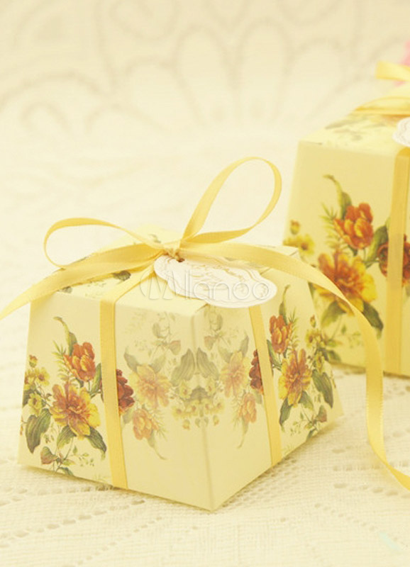 Fl Print Corrugated Paper Wedding Favor Bo Set Of 12 No 7