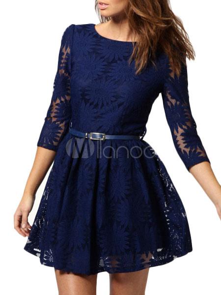 542257129ea Belle robe skater sexy en fibres bambou bleu avec dentelle à dos décolleté  -No.