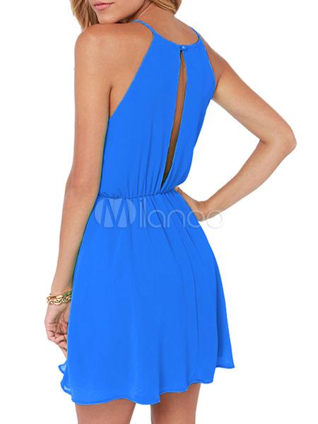 Halter Chiffon Cut Out Dress Cheap clothes, free shipping worldwide