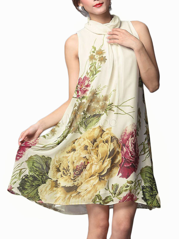 Sleeveless Floral Print Party Dress Cheap clothes, free shipping worldwide