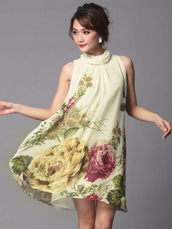 e0b3e5f08 Vestido vintage de seda elástica con estampado floral - Milanoo.com