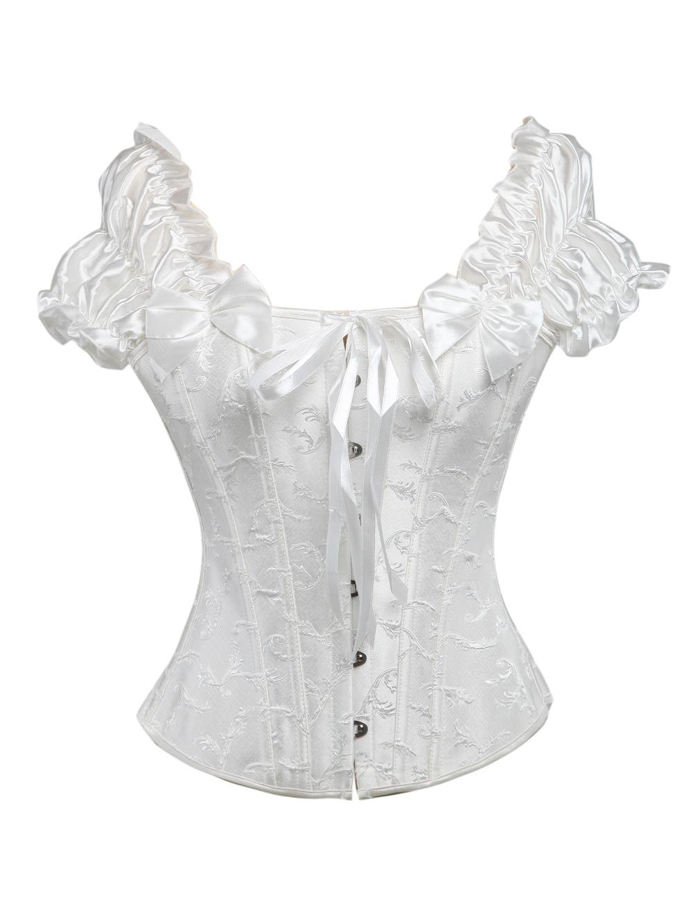 White Ruffles Sleeves Jacquard Corset