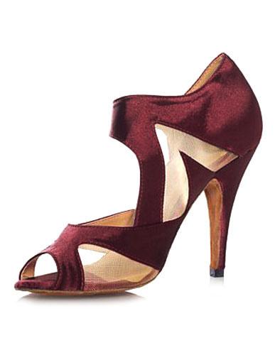 Unique Purple Peep Toe Silk And Satin Latin Dance Shoes