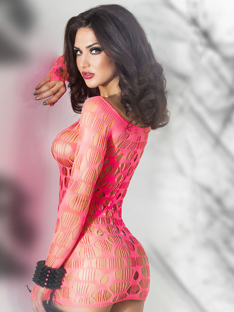 Cut Out Chemise With Netting Cheap clothes, free shipping worldwide