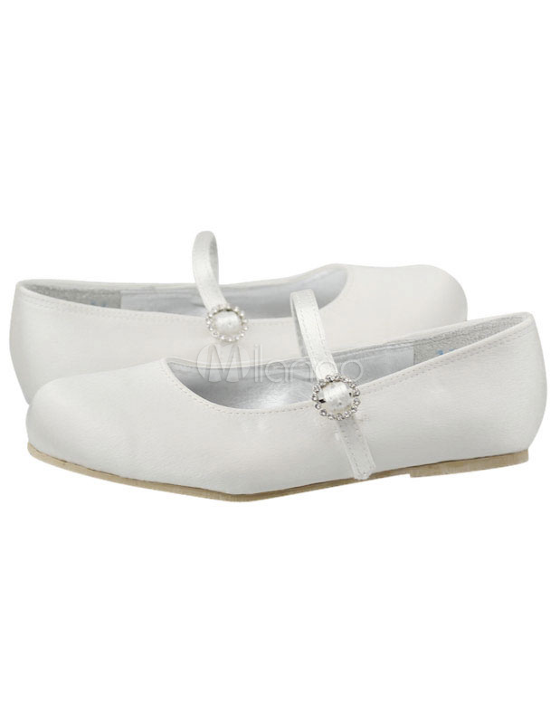Concise Satin Face Ankle Strap Flat Flower Girl Shoes - Milanoo.com